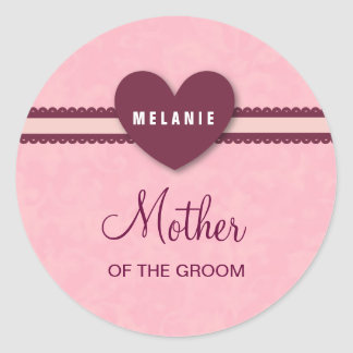 Mother of the Groom Heart and Lace Custom Name V07 Round Sticker