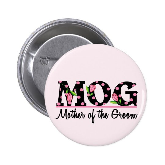 Mother of the Groom (MOG) Tulip Lettering 6 Cm Round Badge