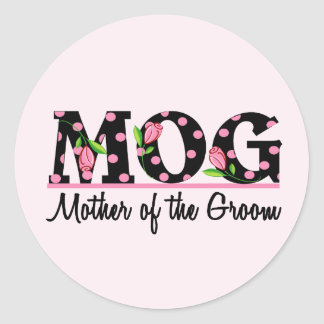 Mother of the Groom (MOG) Tulip Lettering Round Sticker