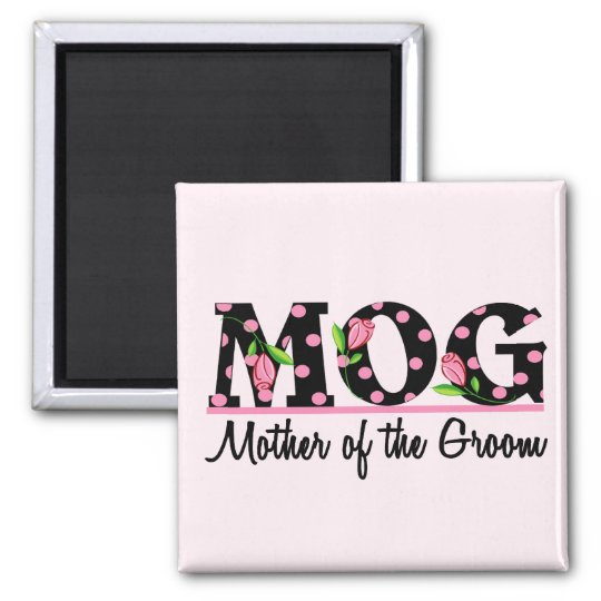 Mother of the Groom (MOG) Tulip Lettering Square Magnet