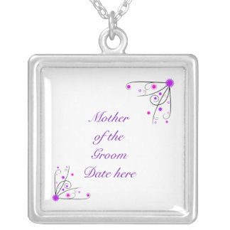 Mother of the Groom Necklace - Purple & Pink Flowe