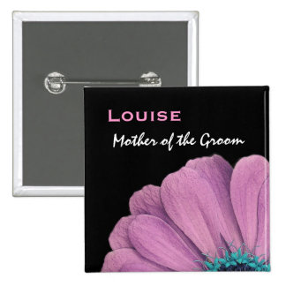 Mother of the Groom Pink Daisy Wedding 15 Cm Square Badge