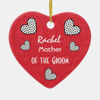 MOTHER OF THE GROOM Polka Dot Hearts V09F Christmas Ornament