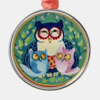 Mother owl Silver-Colored round decoration