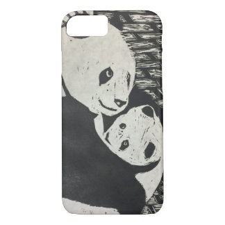 Mother Panda - Panda Bear with cub - iPhone Case