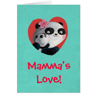 Mother Panda with Baby Card