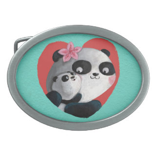 Mother Panda with Baby Oval Belt Buckle