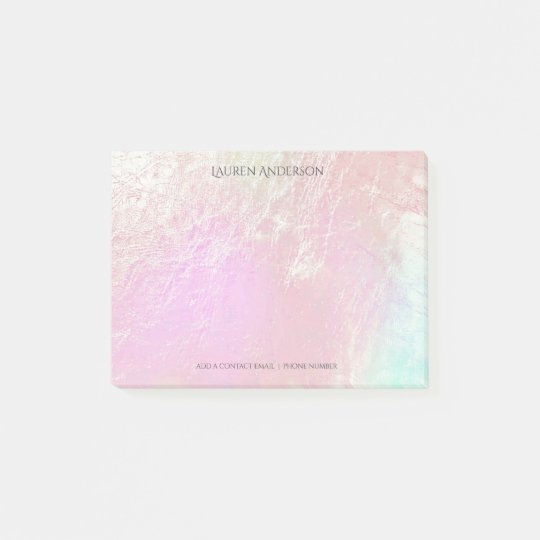 Mother Pearl Pink Name Office Personalised Post-it Notes