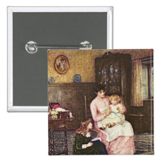 Mother playing with children in an interior 15 cm square badge