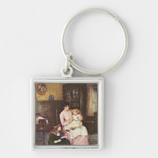 Mother playing with children in an interior Silver-Colored square key ring