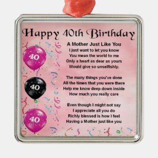 Mother Poem - 40th Birthday Christmas Ornament