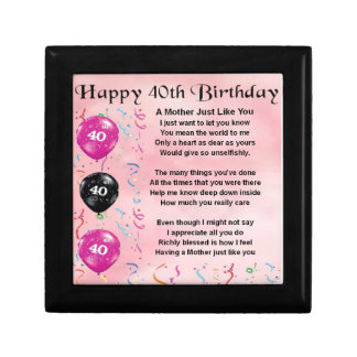 Mother Poem - 40th Birthday Gift Box