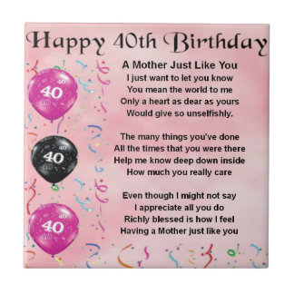 Mother Poem - 40th Birthday Tile