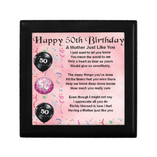 Mother Poem  -  50th Birthday Small Square Gift Box