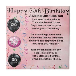 Mother Poem  -  50th Birthday Tile