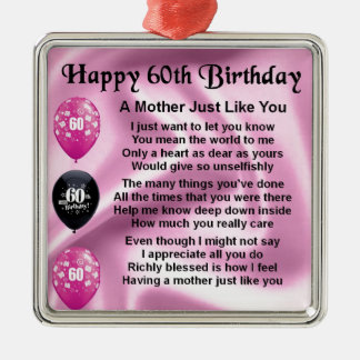 Mother Poem - 60th Birthday Christmas Ornament
