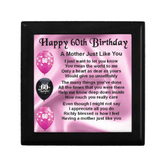 Mother Poem - 60th Birthday Small Square Gift Box