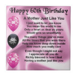 Mother Poem - 60th Birthday Small Square Tile