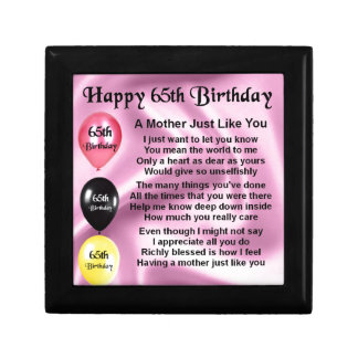 Mother Poem  -  65th Birthday Small Square Gift Box