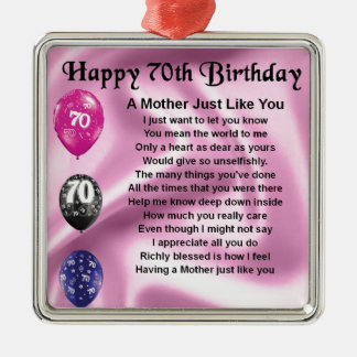 Mother Poem - 70th Birthday Christmas Ornament