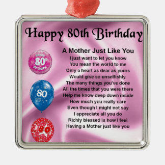 Mother Poem  -  80th Birthday Christmas Ornament