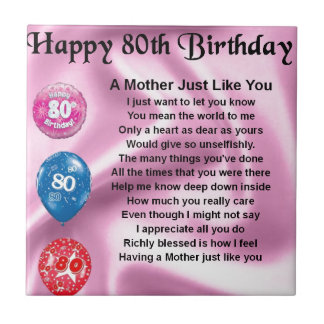 Mother Poem  -  80th Birthday Small Square Tile