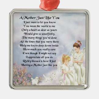Mother Poem - Angels & Kittens Design Silver-Colored Square Decoration