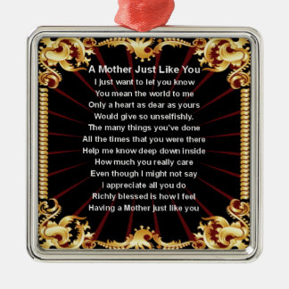 Mother Poem  -  Black Design Silver-Colored Square Decoration