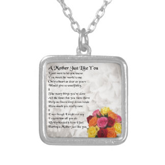 Mother Poem - Flowers Silver Plated Necklace