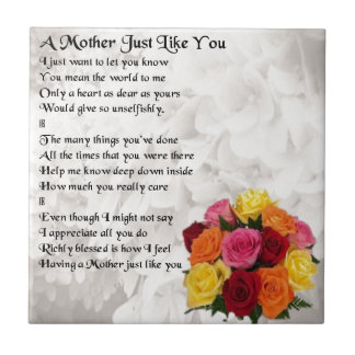 Mother Poem - Flowers Tile