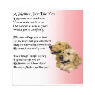 Mother Poem - Golden Retriever Design Notepad