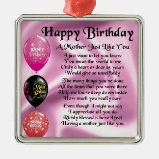 Mother Poem - Happy Birthday Christmas Ornament