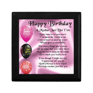 Mother Poem - Happy Birthday Small Square Gift Box