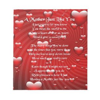 Mother Poem - Hearts Design Notepad