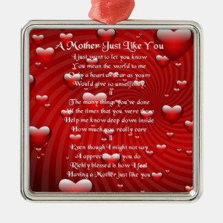 Mother Poem - Hearts Design Silver-Colored Square Decoration