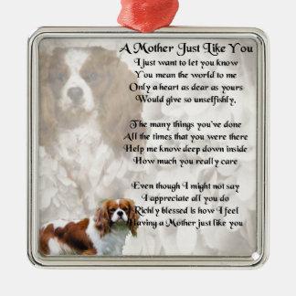 Mother Poem - King Charles Spaniel Design Silver-Colored Square Decoration