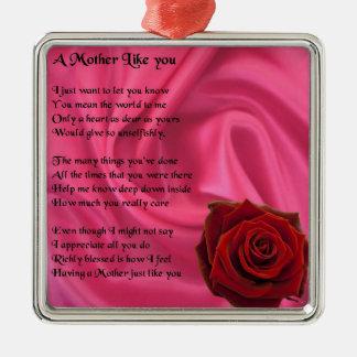 Mother Poem  -  Pink Silk & Rose Design Silver-Colored Square Decoration