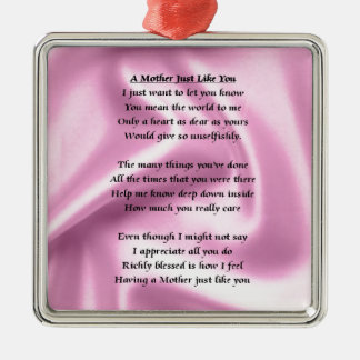 Mother Poem - Pink Silk Silver-Colored Square Decoration