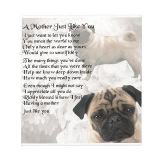 Mother Poem  -  Pug Design Notepad