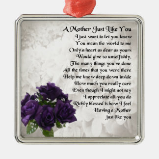 Mother Poem  -  Purple Roses Silver-Colored Square Decoration