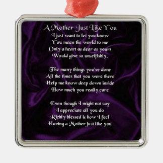Mother  Poem - Purple Silk Silver-Colored Square Decoration