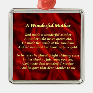 Mother poem red Silk Christmas Ornament
