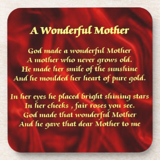 Mother poem red Silk Coaster