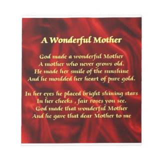 Mother poem red Silk Notepad