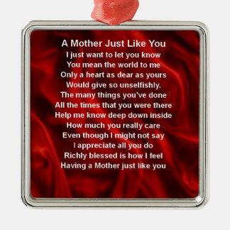 Mother Poem  -  Red Silk Silver-Colored Square Decoration