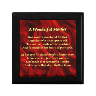 Mother poem red Silk Small Square Gift Box