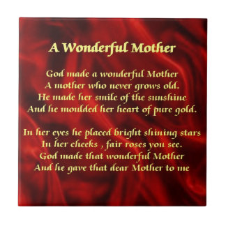 Mother poem red Silk Tile