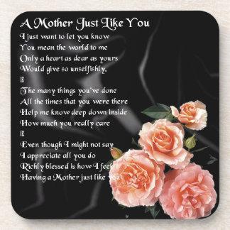 Mother Poem - Roses on Black Silk Coaster