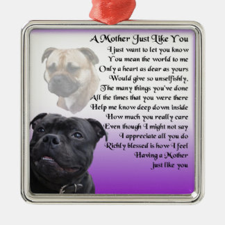 Mother Poem - Staffordshire Bull terrier  Design Silver-Colored Square Decoration
