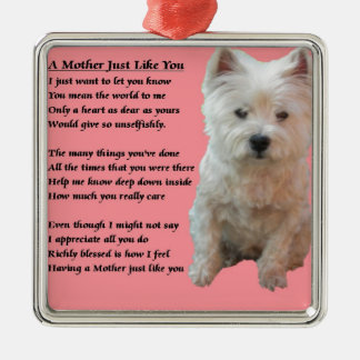 Mother Poem - Westie Silver-Colored Square Decoration